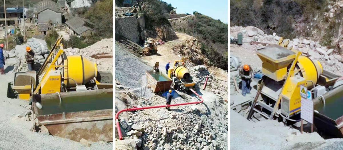 lưu động Concrete Mixer with Pump Làm việc ở nước ngoài