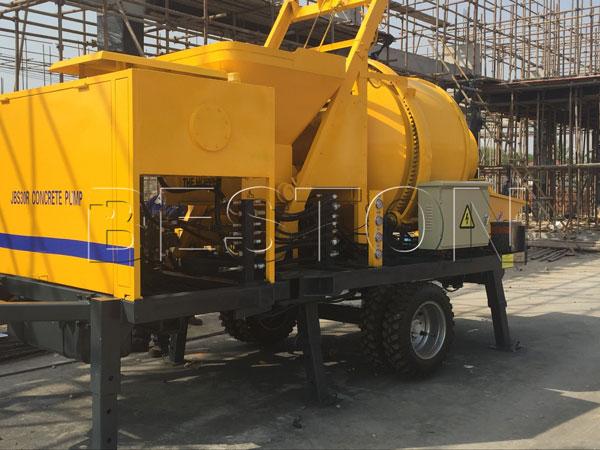 concrete mobile pump with mixer