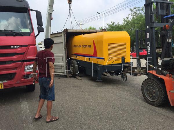 delivering concrete pump