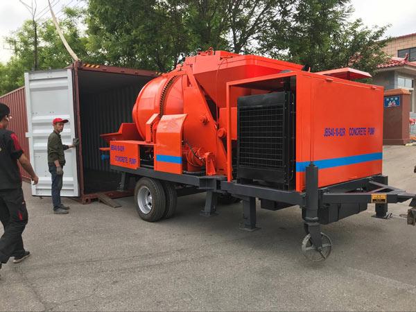 40 m3 diesel concrete mixer pump delivering to Jordan