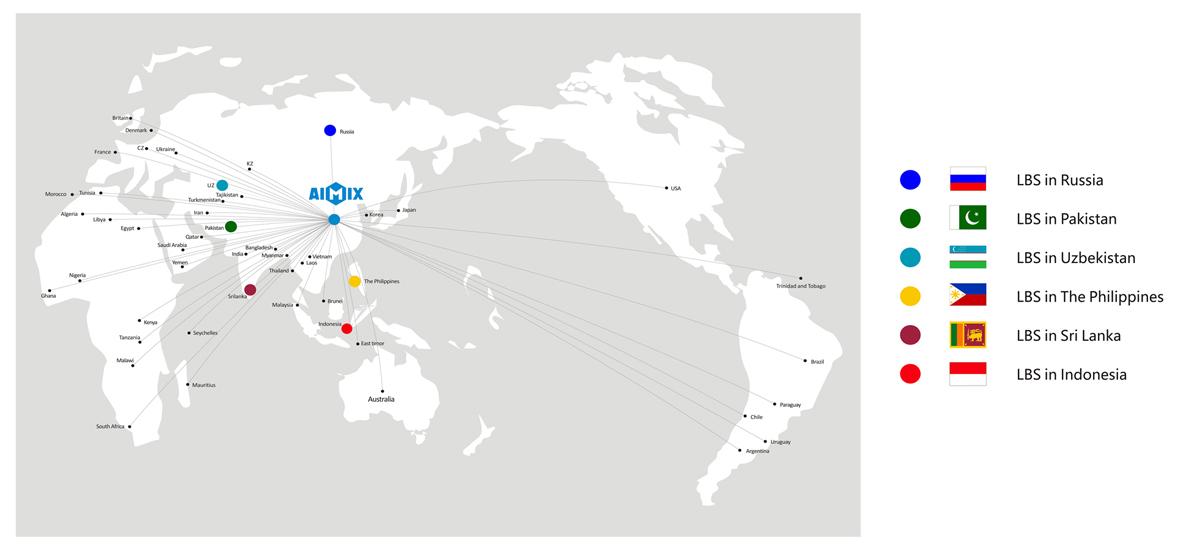 مراكز Aimix LBS في العالم