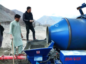 diesel concrete mixer pump on construction site