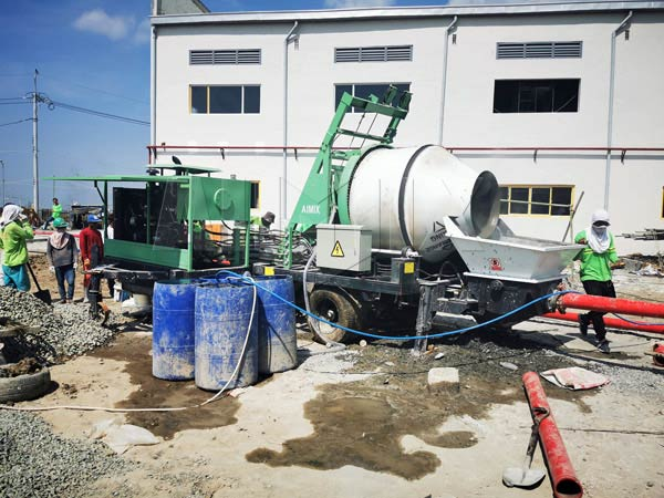 Diesel Cement Mixer Pump on Site