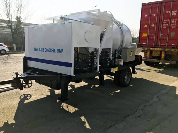 transporting concrete pump mixer