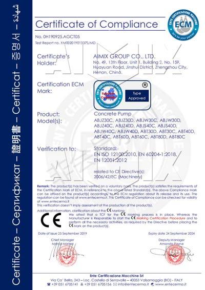 Сертификат CE бетононасоса Aimix