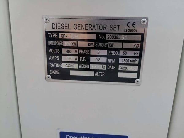 Diesel Generator Specification