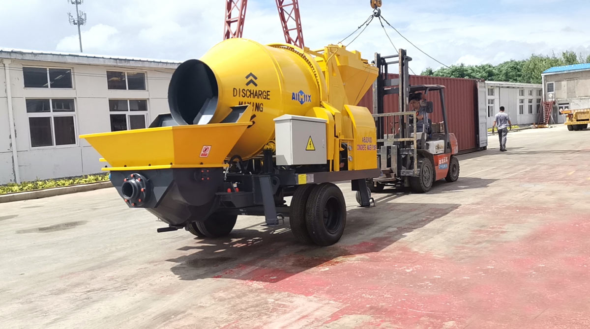Transporting ABJZ40D Electric Concrete Mixer Pump to Indonesia