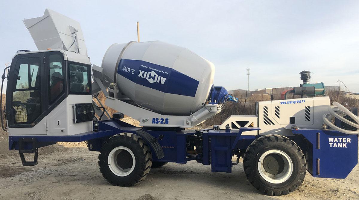AIMIX AS-2.6 Pengaduk Beton Pemuatan Sendiri Dikirim ke Shymkent, Kazakhstan
