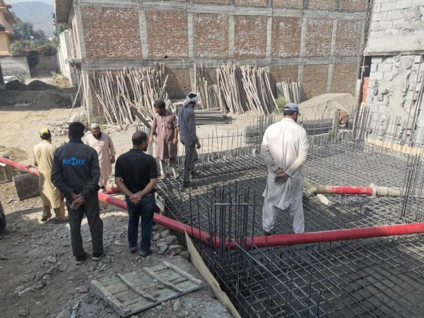 Pumping Concrete At Site in Pakistan