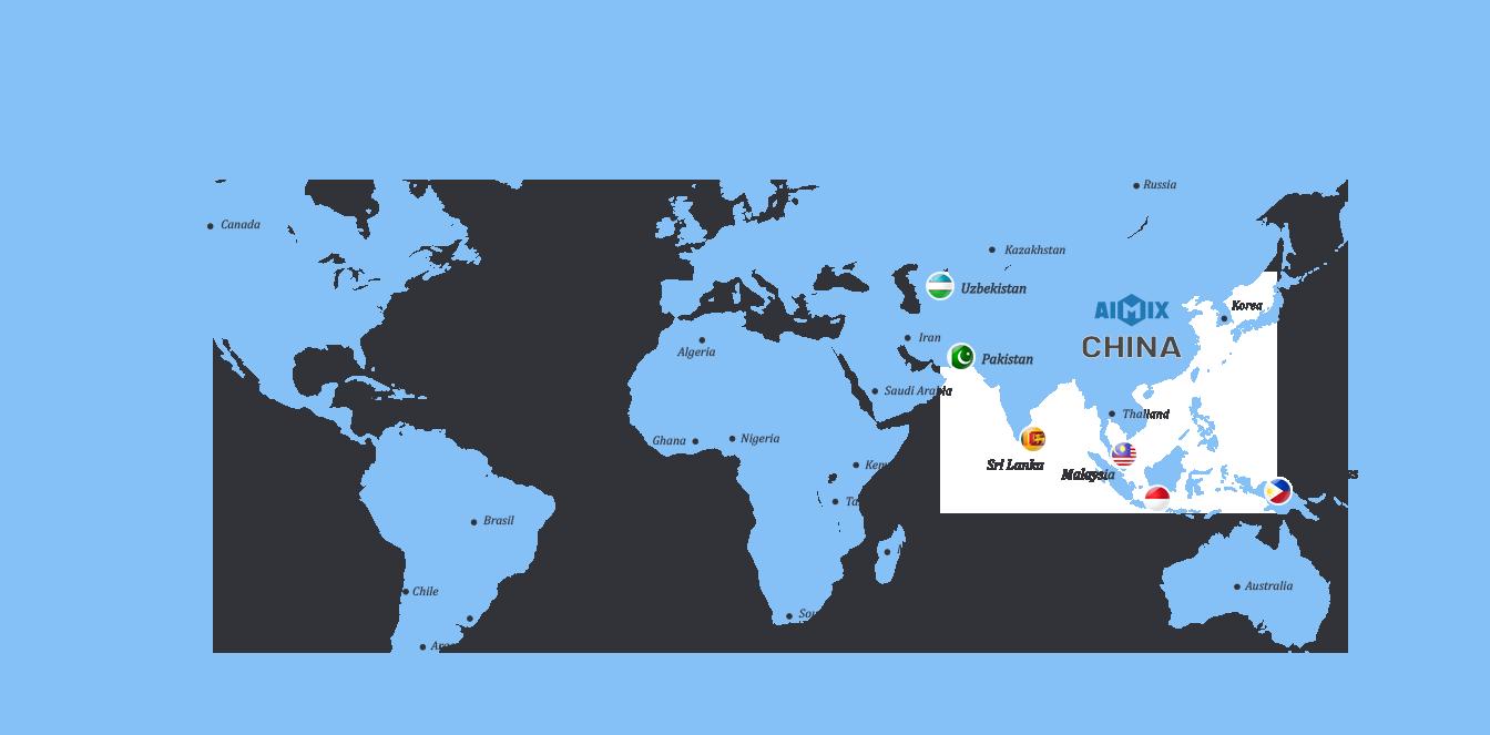 Aimix Betonmaschinenanwendung in Globe Map