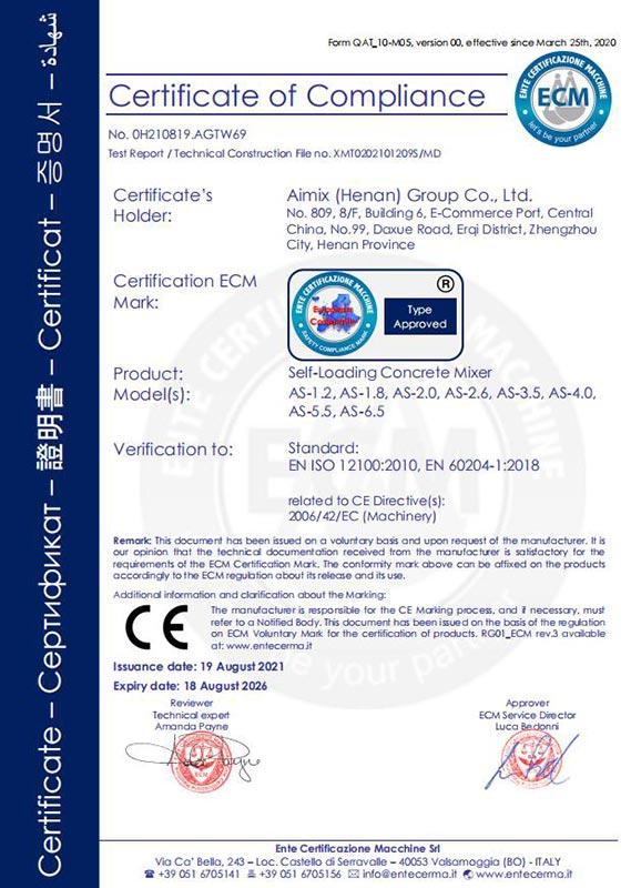 CE Certificate - Self Loading Concrete Mixer